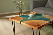 Natural Green Epoxy Resin River Table Top Handmade Wooden Decor Made To Order
