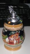 """German Beer Stein W/pewter Lid. 6 1/2 """" Tall. Beautiful Condition."""