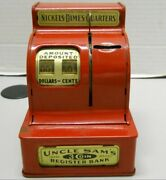 Vintage Red Uncle Samandrsquos 1953 3 Coin Register Bank Durable Toy And Novelty Corp.