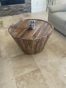 """Coffee Table Solid Reclaimed Wood Round 32"""" X 18"""" H."""