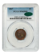 1867 1c Pcgs/cac Ms65 Rb - Better Date - Indian Cent - Better Date