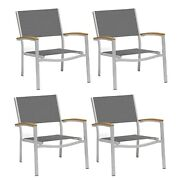 Travira Chat Chair With Tekwood Natural Armcaps Set Of 4 Aluminum 4-piece Sets