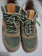 New Balance 710 Green Suede Hiking Mid Shoe Leather Accents Size 10