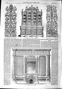 Old Antique Print 1851 Wall Decoration Carved Bookcase Design Furniture 19th