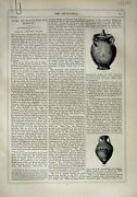 Old Antique Print 1866 Art Journal Manufacture Glass Vase Jugs Chaffers 19th