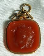 Victorian Watch Fob Pendant Roman Centurion Soldier 10k Yellow Gold Agate Cameo