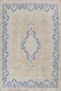 Antique Muted Floral Hand-knotted Kirman Area Rug Medallion Oriental Wool 10x13