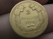 1866 3 Gold Indian Princess Three Dollar Coin- Extremely Rare 4000 Mintage