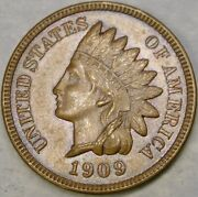1909 Indian Head Cent/penny Very Appealing Beautiful Crisp Features Tougher Date