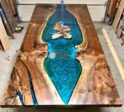 Pure Olive Acacia Wood Resin River Epoxy Dining Center Custom Table Living Decor