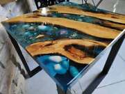 Acacia Furniture Table Wooden Ocean Design Epoxy Coffee Table Deco Made To Order