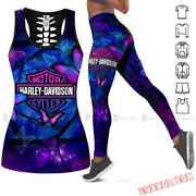 Combo Harley Davidson Hollow Tank Top And Leggings Sporty Clothes For Women
