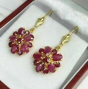 Leverback Cluster Dangle Earrings 2.80ct Oval Cut Ruby 14k Yellow Gold Finish