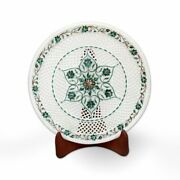 Round Marble Serving Platter/plate, Hand Made Dining Decorative Inlay Home Decor