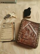 Vintage Military Leather Case W/ Small Bible Id Card /mirror And Small Plane