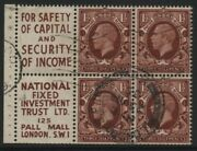 1934-6 11/2d Red Brown Photogravure Booklet Advert Pane Of Six Fine Used Sg 441e