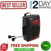 Portable Cassette Player Recorder Built-in Am Fm Radio Compact Speaker Black Red