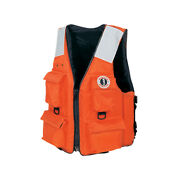 Mustang Survival Mv3128t2-m-or Mustang Four Pocket Vest W/ Solas Tape M Or