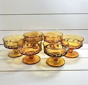 6 Vintage Indiana Amber Glass Kings Crown Footed Dessert/custard Cups Glasses