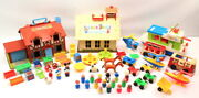 Vintage Fisher Price People Toy Lot School House Boat Horse Bus