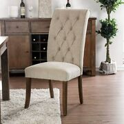 Furniture Of America Sheila Button Tufted Flax Dining Chairs Beige/rustic Oak Fr