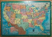 1960s Milton Bradley Usa Outline Map Of United States Tray Puzzle No. 4215-x