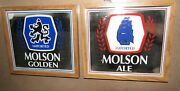 2 Vintage Molson Ale And Molson Golden Beer Mirrors - Imported 10-1/2 X 9-1/4