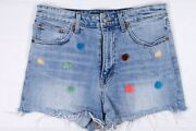 Lucky Brand Womens 10 / 30 Pins Shorts Pom Denim Jeans Cut Off High Rise Wiast