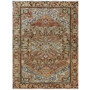 7and0391x9and0399 Semi Antique Brown Farsian Heris Worn Hand Knotted Wool Rug R60391