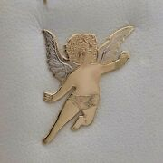 14k Two Tone Gold H Of G Guardian Angel Etched Cherub Tie Tac Lapel Pin New