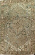 Antique Muted Geometric Heriz Hand-knotted Area Rug Wool Oriental 9x13 Ft Carpet