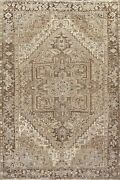 Antique Muted Geometric Heriz Traditional Wool Area Rug Handmade Oriental 8and039x12and039
