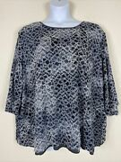 Maggie Barnes Womens Plus Size 5x Silver Metallic Floral Embroidered Blouse