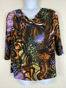 Peter Nygard Women Plus Size 1x Colorful Abstract Animal Print Blouse 3/4 Sleeve