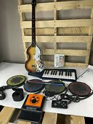 Xbox 360 Rock Band With Beatles Guitar Drums Drumsticks Keyboard Two Games