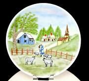 Stubbs Signed Milk Glass Hand Painted Town Scene And Sheep Large 12 5/8 Platter