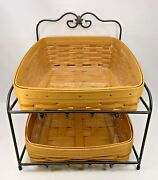 Longaberger 1999 Paper Tray Baskets W/ Protectors And Wrought Iron Stand