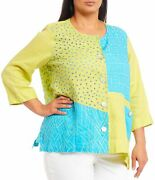 Ali Miles Womenand039s Blouse Yellow Size 1x Plus Knit Colorblock Button Up 84 313