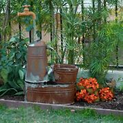 Rustic Invisible Spout Watering Can Water Fountain Outdoor Patio Garden Decor