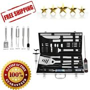 Bbq Grill Tool Set Meat Thermometer Injector Extra Thick Stainless Steel Spatula