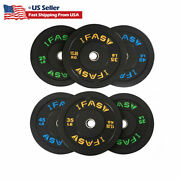 Olympic Weight Barbell Plates 1pair Rubber Bumper 25/35/45lb Fitness Workout New