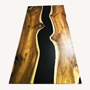Black Epoxy Top Coffee,dining,wooden Walnut Epoxy Table Decorate Made To Order