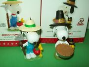 Hallmark Lot Snoopy Giving Thanks Pilgrims Pie And Green Thumb 2013-16 Ornaments