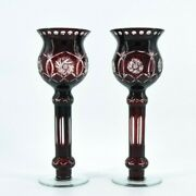 A Pair Of Bohemian Ruby Cut Glass Vases, Two Czech Ruby Glass Vases