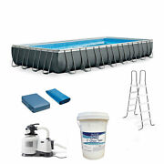 Intex Ultra Xtr Frame Pool Bundle With Pump And Pool Care Chlorine Tablets 50 Lb