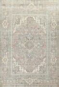 Antique Muted Heriz Distressed Hand-knotted Evenly Low Pile Area Rug 7x9 Carpet