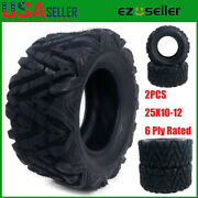 Pair Of 2 New Full Set 25x10-12 Tires Dual Compound 6 Ply Rated Atv/utv Rear Us