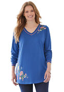 Woman Within Women's Plus Size Embroidered V-neck Tunic