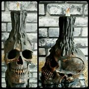 Skull Flickering Led Candle Halloween Goth Decor Haunted House Mansion Prop