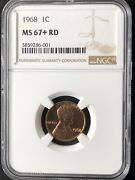 1968 1c Rd Lincoln Memorial One Cent Ngc Ms67+rd  5859286-001